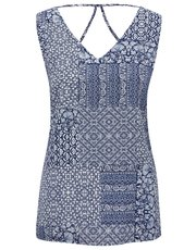Tile print cut out back vest top