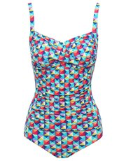 Geometric print tummy control swimsuit