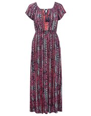 Petite floral stripe gypsy maxi dress