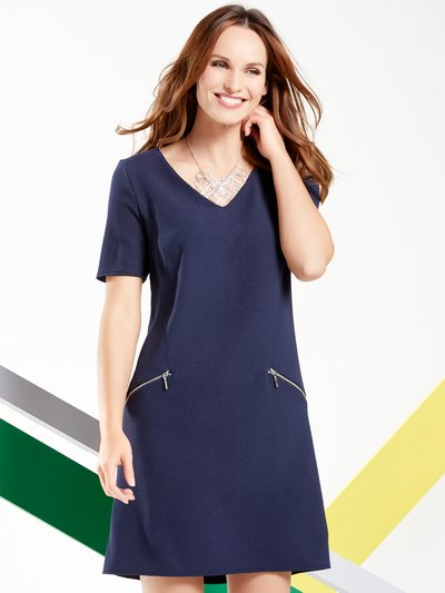 Crepe v-neck tunic dress