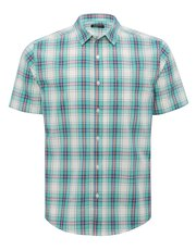 Checked cotton short sleeve shirt