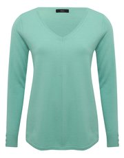 V neck button trim jumper