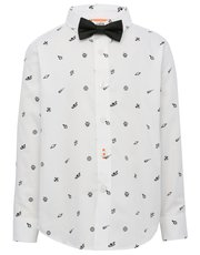 Space print shirt and bow tie set