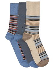 Gentle Grip stripe pattern mix socks three pack