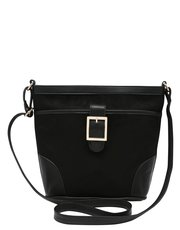Suedette cross body bucket bag