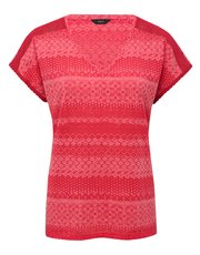 Tile stripe lace trim top
