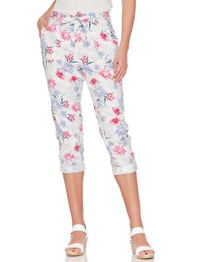 Floral print cropped poplin trousers