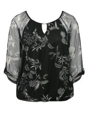 Petite floral print sheer sleeve top