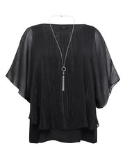 Shimmer layer top with necklace