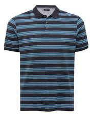 Navy stripe short sleeve polo shirt