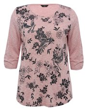 Plus floral print glitter bird top