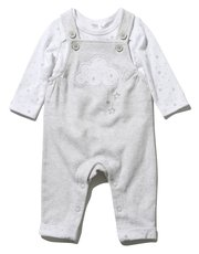 Cloud dungarees and bodysuit set