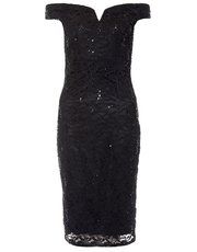 Quiz sequin v bar midi dress