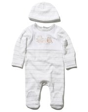 Striped owl sleepsuit and hat set