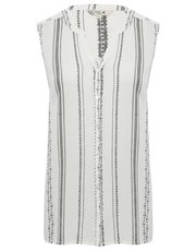 Sleeveless stripe embroidered shirt