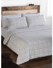 Brushed cotton grey check duvet set