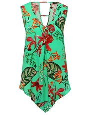 Tropical floral print hanky hem top
