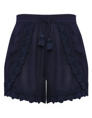 Teens' crochet trim petal front shorts