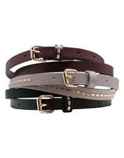 Stud detail skinny belt three pack