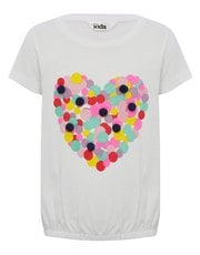 Heart print bubble hem t-shirt