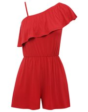 One shoulder frill playsuit