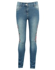 Teens' floral embroidered jeans