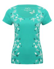 Floral butterfly scoop neck t-shirt