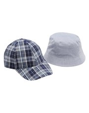 Blue checked cap and sun hat two pack