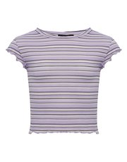 Teens' stripe frill hem cropped t-shirt