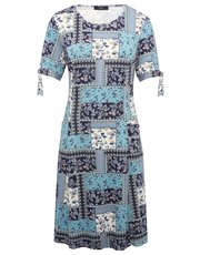 Patchwork print swing dress