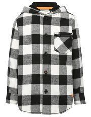 Brushed cotton check hooded shirt