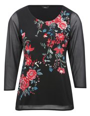 Floral embroidered sheer sleeve top