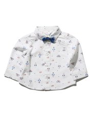Rocket print shirt with bow tie