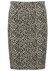 Petite animal jacquard print skirt