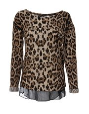 Quiz light knit leopard print top