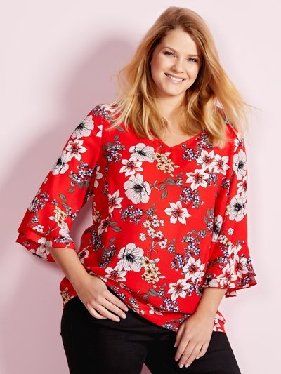 Plus floral print frill sleeve top