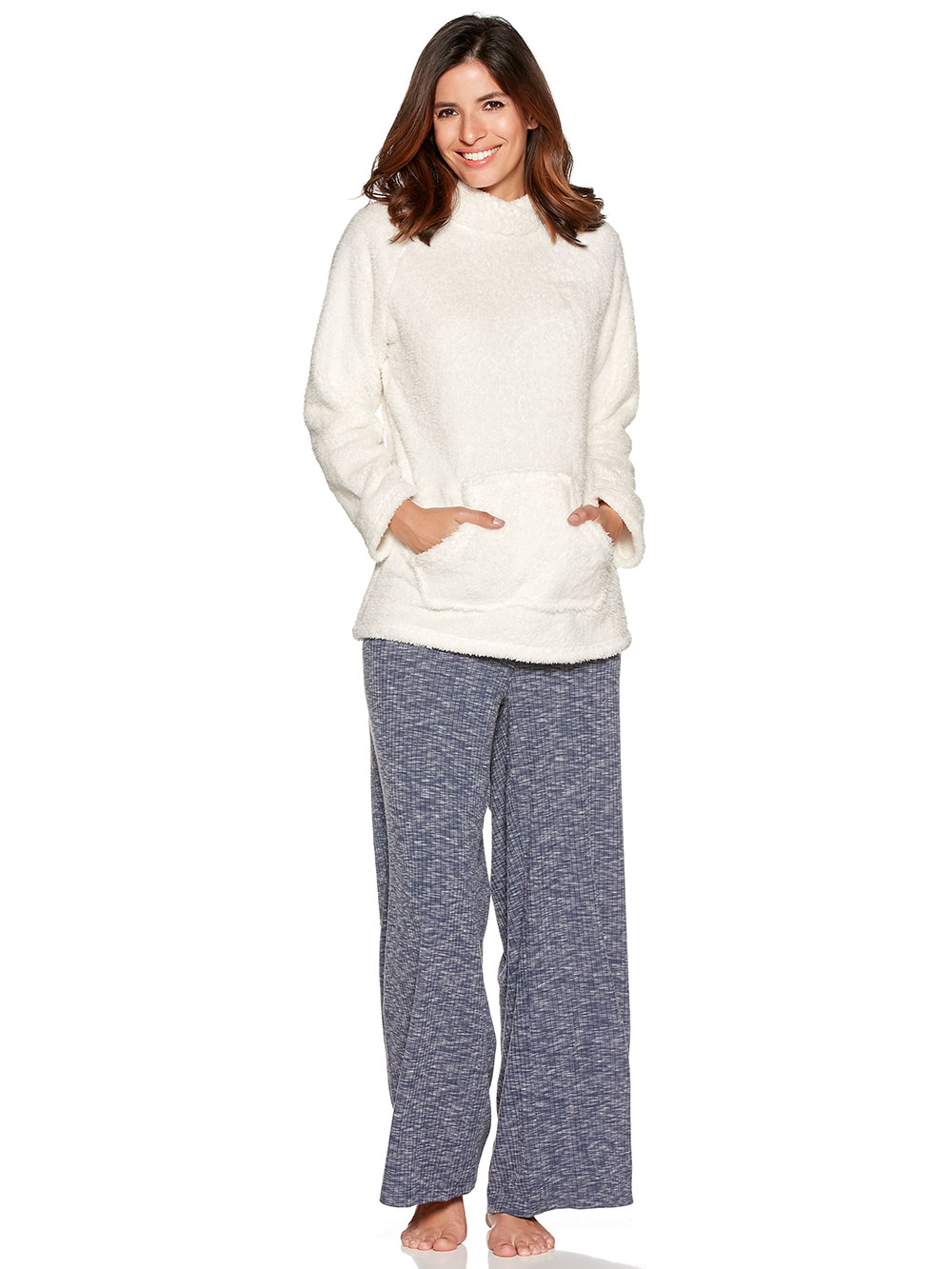 Loungewear sweater and wide leg trousers set