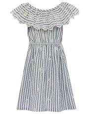 Broderie anglaise stripe frill dress
