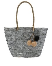 Straw pom pom shopper