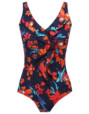 Tropical print tummy control swimsuit