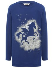 Unicorn print long sleeve pyjama top