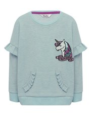 Sequin unicorn frill sleeve sweater