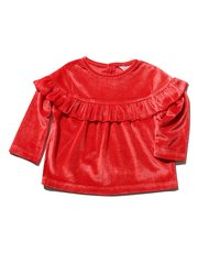 Red frill velour top