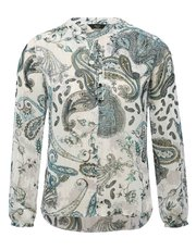 Petite paisley metallic thread top