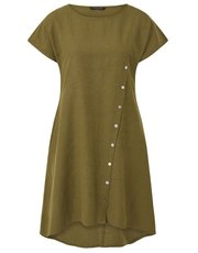 VIZ-A-VIZ angled buttoned placket dress