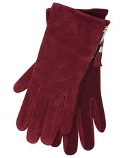 Tassel zip suede gloves