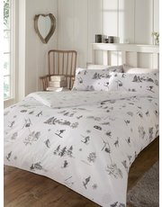 Brushed cotton ski print duvet set