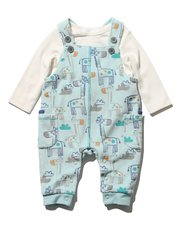Giraffe cord dungarees and top set
