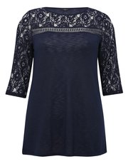 Plus lace sleeve top
