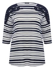 Plus stripe print lace trim top